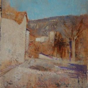 フランス風景画 村の入り口 春の予感