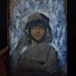 ポートレイト絵画 帽子のパリジェンヌ