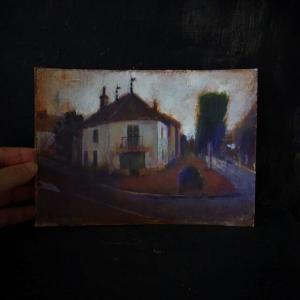 フランス風景画 黄昏時の白い家 ブルゴーニュ地方