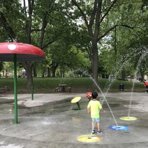 水遊び場解禁!スプラッシュパッド|2か月ぶりの公園へ外出