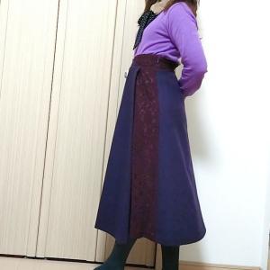 カールパークレーンのパープルコーデ☆ロングスカートで普通の日のエレガント系ママファッション