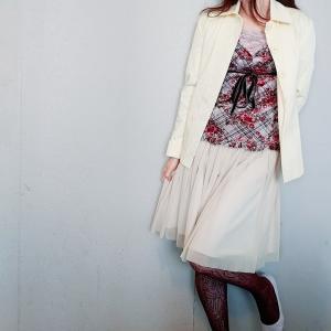 【Lois CRAYON】チュールフレアスカート×網タイツのフェミニンママコーデ