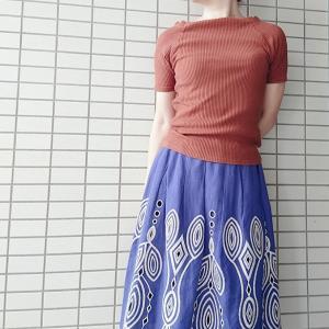 【コンサバ系ママコーデ】ブラウン✕ブルーの着こなし☆おさがりフレアスカートの夏コーデ