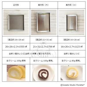 ロールケーキ天板の大きさと巻きの比較