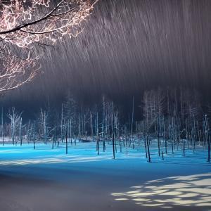 """幻想的で別格!雪降る夜の""""青い池"""""""