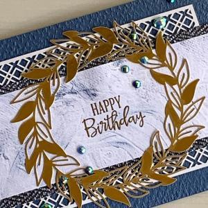 ブルーとゴールドの誕生日カード
