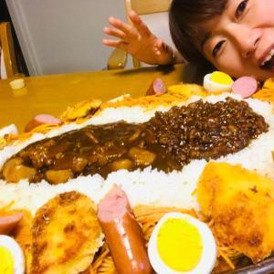デカ盛りチキンカツカレーでウキウキの夕食(^^)