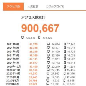 2021/07/28 水 累計90万アクセス 感謝!