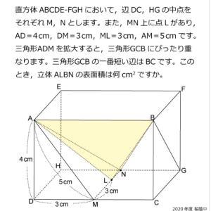 【立体図形】2020 桜蔭 大問3
