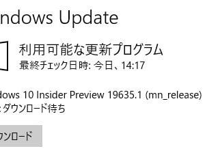 Windows 10 Insider Preview Build 19635 がリリースされました。