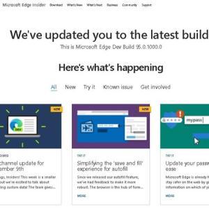 Microsoft Edge Dev チャンネルに バージョン 95.0.1000.0 が降りてきました。