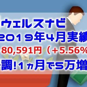 WealthNavi運用実績|2019年4月|+5.56%|1ヵ月で5万円増加し絶好調!