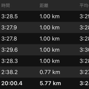 閾値走(設定3:29/km)と10月走行距離