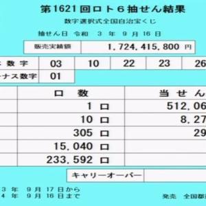 ロト6当選番号[第1621回2021年9月16日]抽せん結果速報