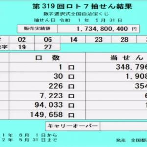 第319回ロト7抽選結果(2019年5月31日)
