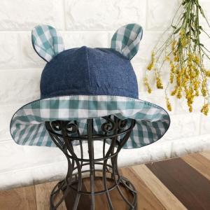 デニムでくま耳帽子