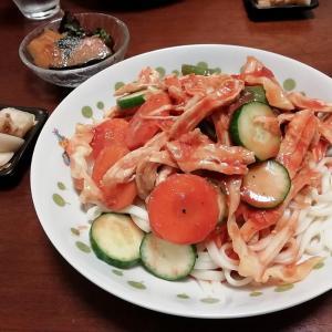 【冷製】鶏トマうどんと簡単な副菜2品