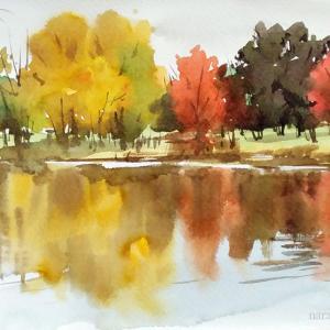秋の紅葉風景を一緒に描きませんか?