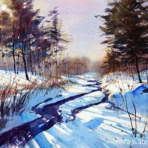 小川の朝雪
