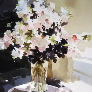 単純化を極める水彩作品ー花