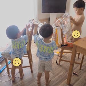 三つ子と朝活 & 洗濯物干してくれたよ