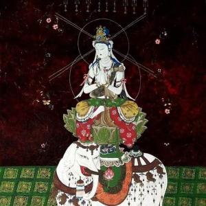 「普賢菩薩像」彩色が終わりました。。