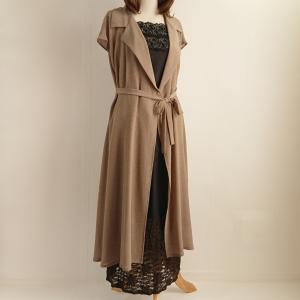 秋のロングカシュクールワンピースに配色スカートを合わせて