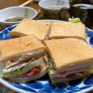 2人の朝ごパン☆パン耳サンド・春雨すぅぷ・茹で卵