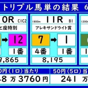 大井トリプル馬単の結果(6/7)