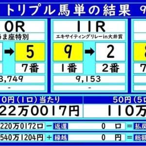 大井トリプル馬単の結果(9/21)