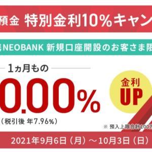 間に合うかな?年利10%、6640円目当てでNEOBANK開設