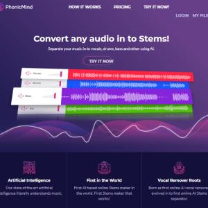 PhonicMind: 2-mix 音源からボーカル・ベース・ドラム・その他音源を分離できるオンラインサービス
