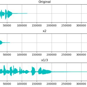 Python LibROSA で音楽・歌声をタイムストレッチ(時間伸縮) librosa.effects.time_stretch()