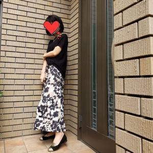 【秋へスイッチコーデ】濃色のサマーニットとマキシスカート