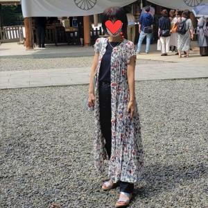 【初孫!?】UNIQLOイネスの花柄羽織りワンピースでお宮参り!