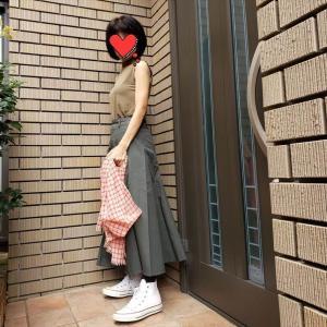【ユニクロU】新色コットンツイルフレアスカートで夏素材秋色コーデ