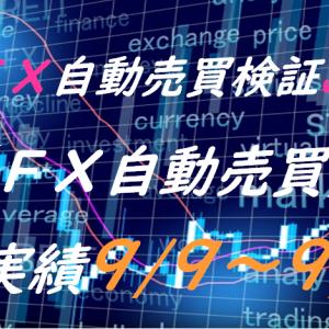 【FX自動売買】週間実績9/9~9/13(トライオートFX、CashRush、パーフェクトゲーム、オートシステム、無料EA)