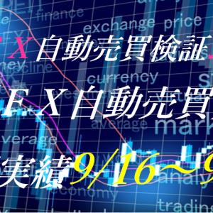 【FX自動売買】週間実績9/16~9/20(トライオートFX、CashRush、パーフェクトゲーム、オートシステム、無料EA)