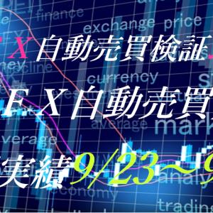 【FX自動売買】週間実績9/23~9/27(トライオートFX、CashRush、パーフェクトゲーム、オートシステム、新規無料EA)