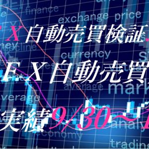 【FX自動売買】週間実績9/30~10/4(トライオートFX、CashRush、パーフェクトゲーム、オートシステム、無料EA)