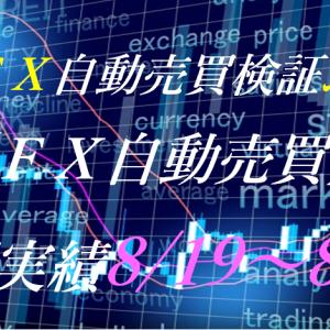【FX自動売買】週間実績8/19~8/23(トライオートFX、CashRush、パーフェクトゲーム、オートシステム、無料EA)