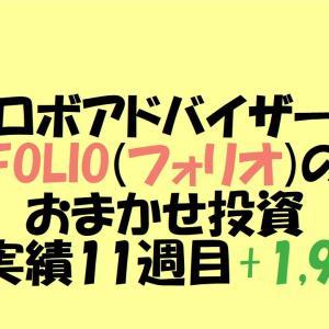 【ロボアドバイザー】FOLIO(フォリオ)のおまかせ投資運用実績 11週目+1,983円