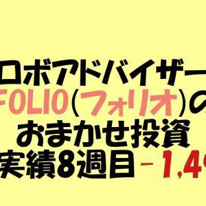 【ロボアドバイザー】FOLIO(フォリオ)のおまかせ投資運用実績 8週目-1,496円