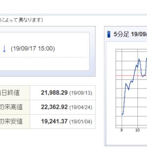 日経平均22000円台回復