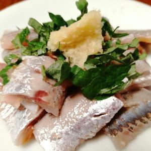 今日のかんたん料理ーイワシの刺身・たこ酢・小松菜とタコ炒めードライカレー
