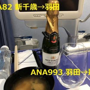 ANA82便 新千歳✈️羽田プレミアム席 ANA993便 羽田✈️那覇 普通席 日またぎフライト搭乗記