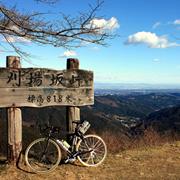 峠で自転車